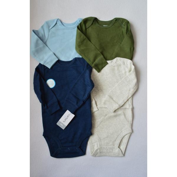 Бодіки 4шт.з довгим рукавом, синій, сірий, голубий, зелений
