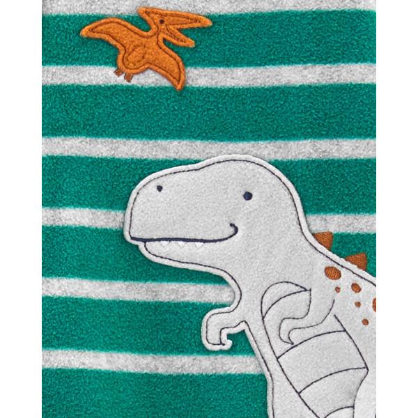 Чоловічок флісовий зелений з динозавриком