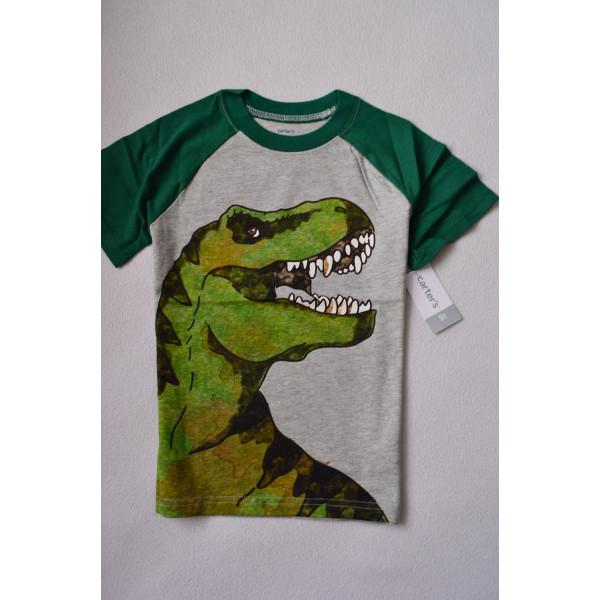 Футболка сіро-зелена з динозавром