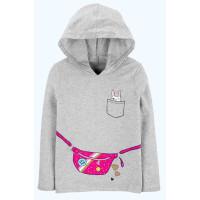 Кофта худі сіра з рожевою сумочкою