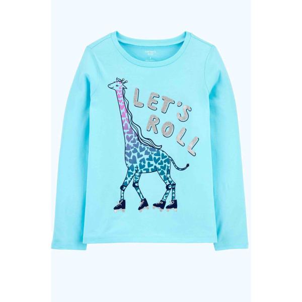 Реглан голубий з жирафом