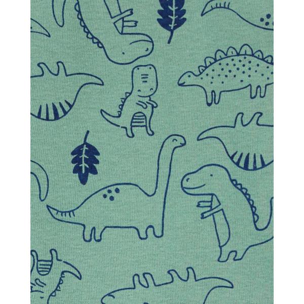 Комплект кофта з капюшоном, бодик з динозаврами, смугасті штани