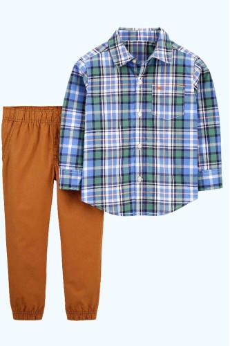 Костюм рубашка в клітинку штани котонові