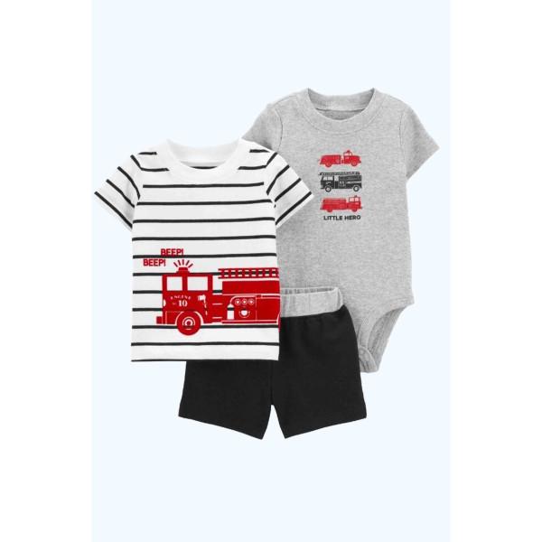 Комплект літній бодик, футболка, шорти Little Hero