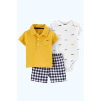 Комплект літній бодик, футболка-поло, шорти в клітинку