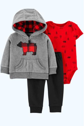 Комплект кофта з ведмедиком, червоний бодик, штани