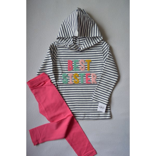 Комплект худі в смужечку Best Sister, рожеві легінси