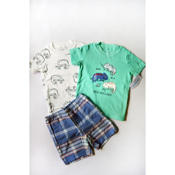Комплект бодик, футболка з хамелеоном, шорти в клітинку