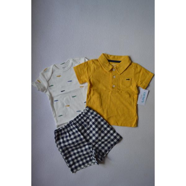 Комплект літній Little Car бодик, футболка, шорти