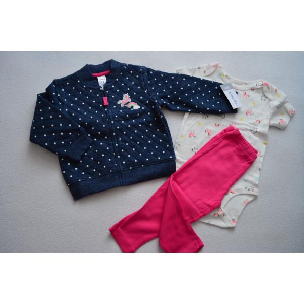 Комплект 3в1 синя кофта, рожеві штани, бодік
