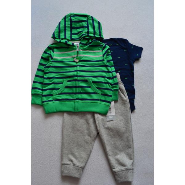 Комплект зелена смугаста кофта, бодік, штани