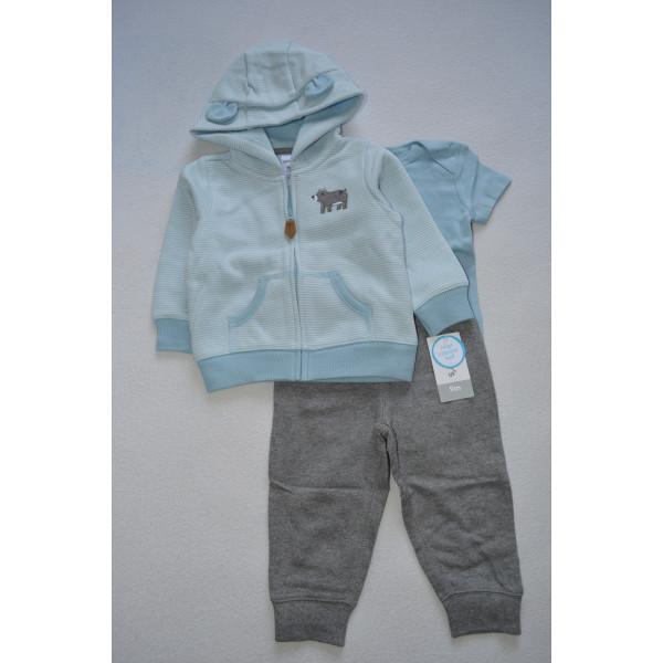 Комплект  утеплений голуба кофта, бодік, штани