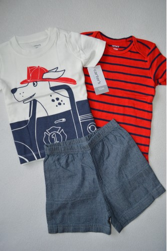 Комплект футболка, шорти, червоний бодік