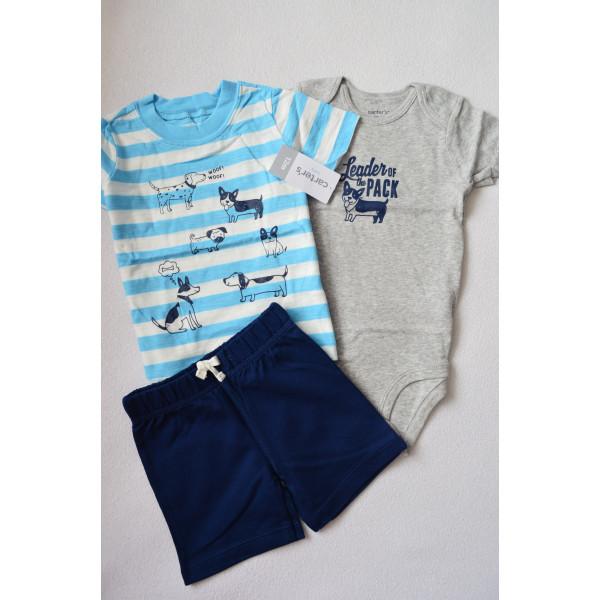 Комплект футболка, бодік, шорти з песиками