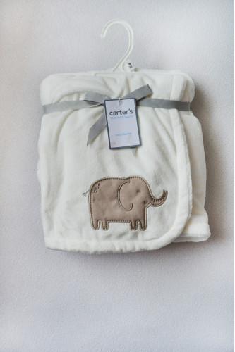 Ковдра плюшева, біла з слоником..