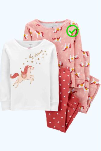 Піжама рожева з кониками