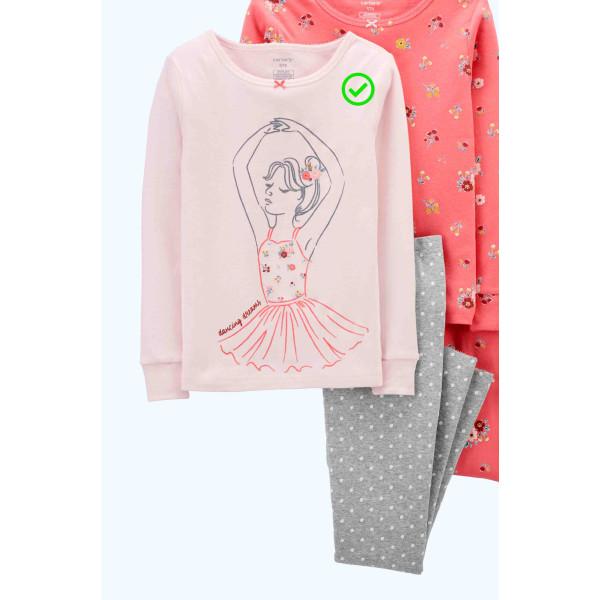 Піжама 1шт рожева з балериною, штани в горошок