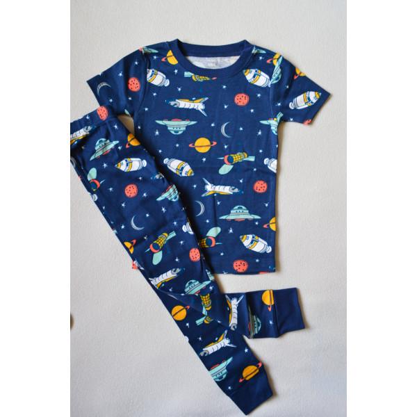 Піжама синя, космічна з коротким рукавом
