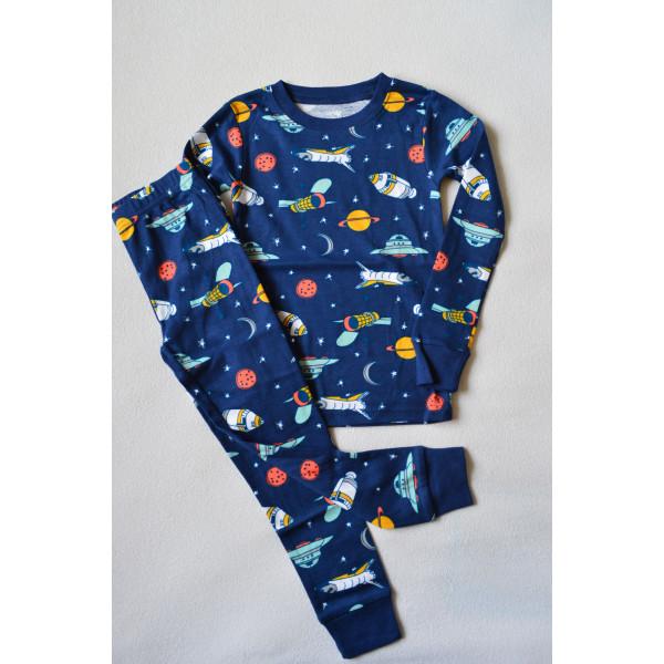 Піжама синя, космічна з довгим рукавом