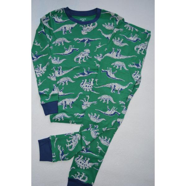 Піжама 1шт зелена, бавовняна з динозаврами
