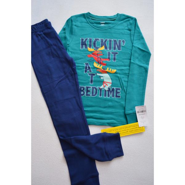 Піжама 1шт смарагдовий верх, сині штани, бавовняна