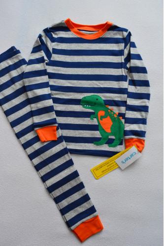 Піжама 1шт смугаста з динозавром