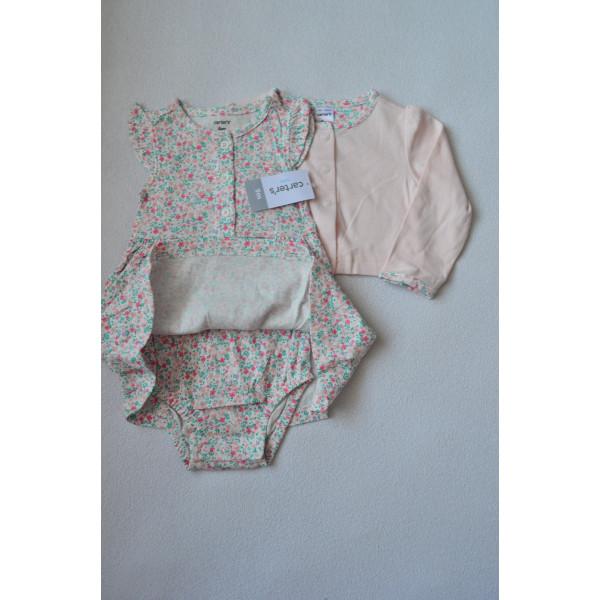 Плаття в квіточку з рожевим кардіганом