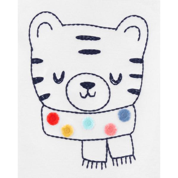Піжама 1шт біла з тигриком, штани в горошок