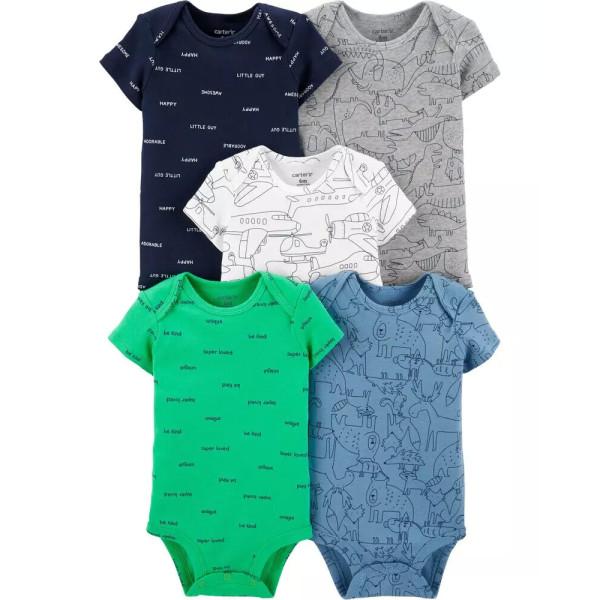 Бодіки комплект 5шт -синій, сірий, білий, зелений, голубий