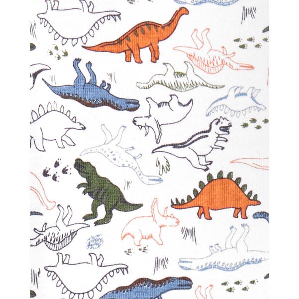 Чоловічок,сліпік бавовняний білий з динозавриками