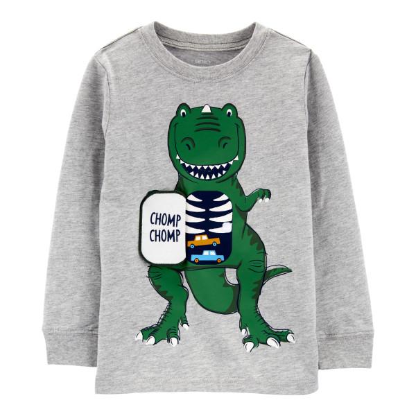 Реглан сірий з динозавром