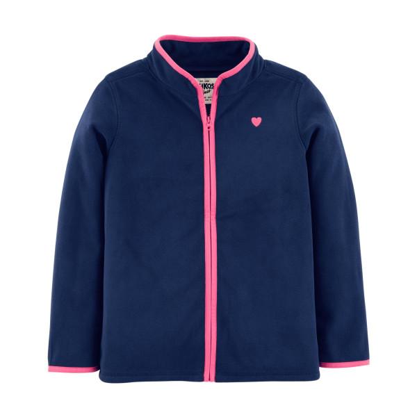 Кофта флісова темно синя з рожевим сердечком