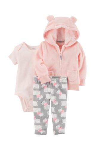 Комплект 3в1 рожевий, штани з собачками