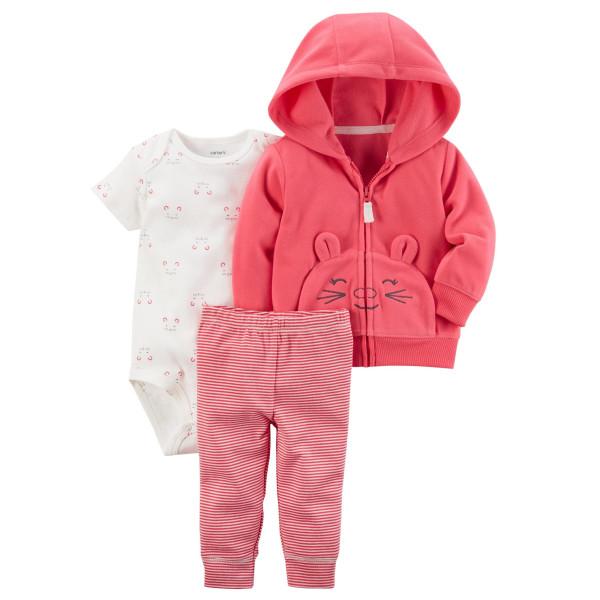 Комплект 3в1 рожева кофта, бодік, полосаті штани