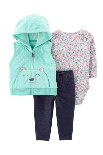 Комплект 3в1 бірюзова жилетка, бодік, сині штани