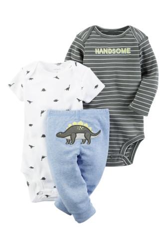Комплект два бодіки, голубі штани з динозавром