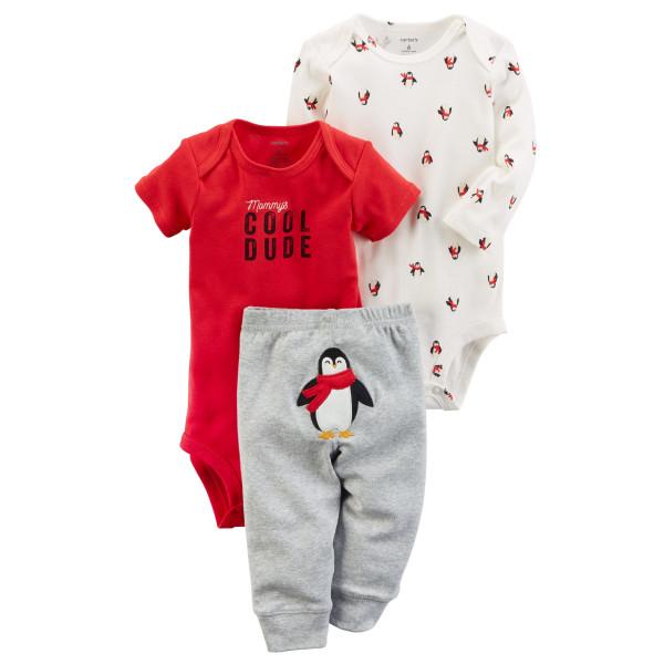 Комплект два бодіки, штани з пінгвіном