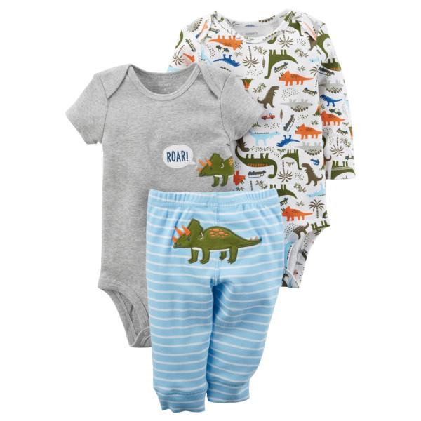 Комплект два бодіки з динозаврами, штани