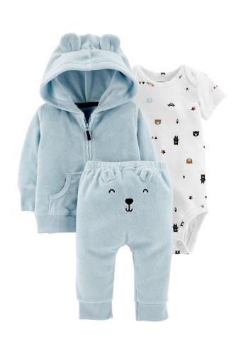 Комплект  утеплений голуба кофта, бодік, штани з ведмедиком