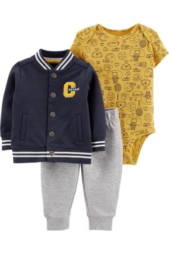 Комплект 3в1 кофта captain, жовтий бодік, сірі штани