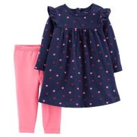 Комплект 2в1 сине плаття, рожеві лосини