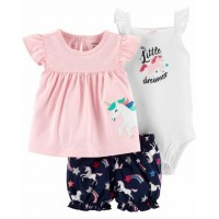 Комплект 3в1 рожеве плаття, бодік, шорти з єдинорогами