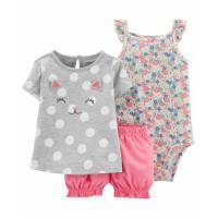 Комплект футболка з котиком, бодік, рожеві шорти