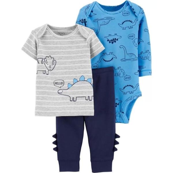 Комплект з динозаврами, футболка, синій бодік, штани