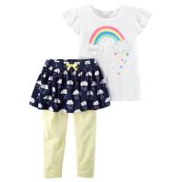 Комплект штани-спідничка, футболка з райдугою