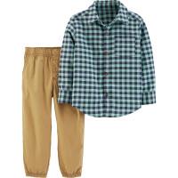 Комплект 2в1 рубашка в клітинку, штани світло-коричневі