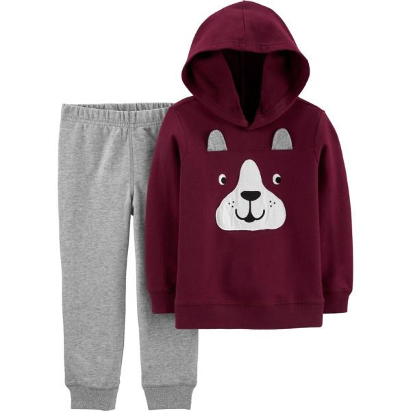 Комплект 2в1 темно-вишнева кофта, сірі штани
