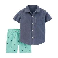 Комплект легка джинсова теніска, зелені шорти