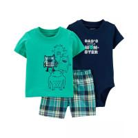 Комплект футболка, бодік, шорти dad's litle monster