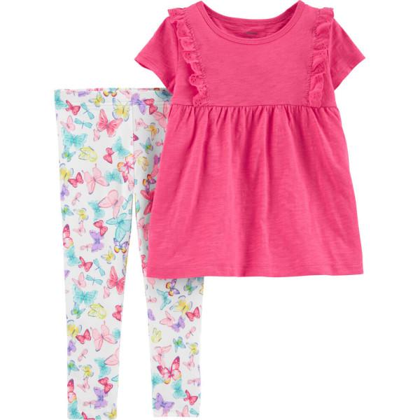Комплект рожева туніка, лосини з метеликами